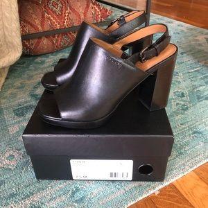 Coach black leather block heel